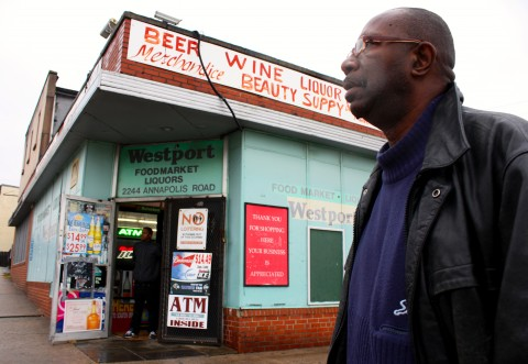 2013 Leslie outside of the bldg that was the pharmacy where he was accused of the robbery.